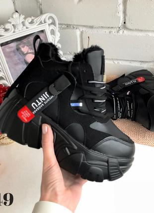 Ботинки на платформе grow, сникерсы с мехом, кроссовки женские...