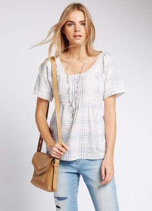 Хлопковая блузка с кружевом M&S, XL