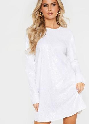 Ликвидация товара 🔥   белое свободное платье в паетки с длинні...