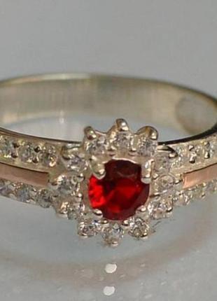 Кольцо серебряное с золотыми вставками 175к
