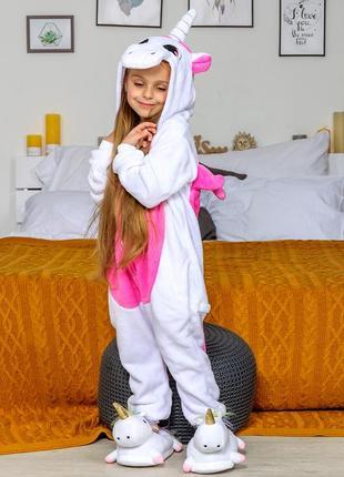 Пижама кигуруми детская единорог бело-розовый {малиновый}
