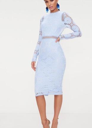 Ликвидация товара 🔥  роскошное кружевное платье миди голубого ...