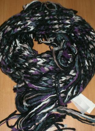 "Шикарний тeплий шарф-снуд-капюшон з бахромою pieces. мегаоб""єм..."
