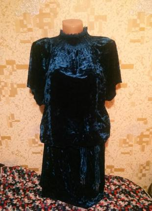 Платье из мраморного бархата велюр