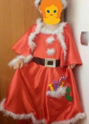 Новогодний костюм помощница деда мороза на 4-7 лет