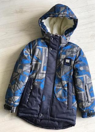 Два в одном осенне зимняя куртка на мальчика с ярким принтом