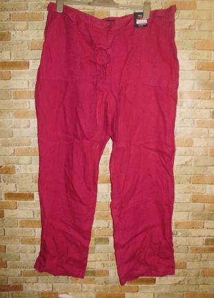 Новые яркие льняные штаны с поясом высокая посадка100% лен 20/...