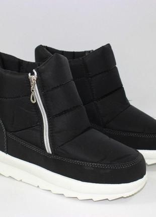 Женские зимние черные короткие ботинки дутики украина