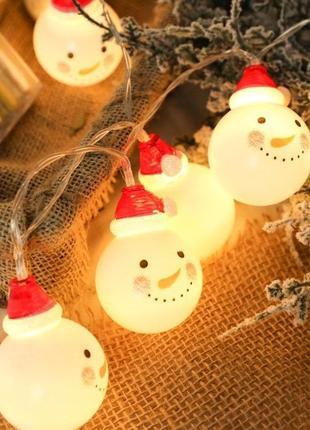 Гирлянда декоративная Снеговики 20 LED