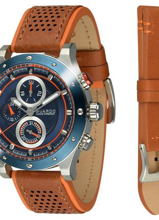 Часы мужские Guardo S01355-4 серебряные с синим (ремешок в под...
