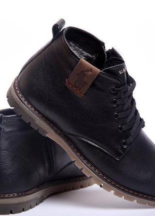 Легкие прошитые кожаные зимние ботинки классика