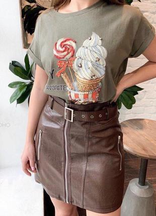 Трендовая кожаная юбка на молнии с поясом
