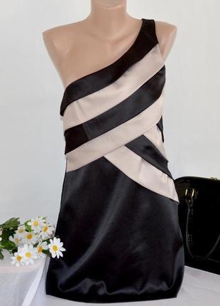 Брендовое черное вечернее нарядное миди платье на одно плечо n...