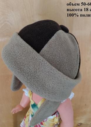 Теплая флисовая комбинированная шапка с ушками