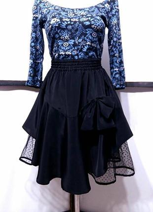 Винтажная нарядная черная пышная асимметричная юбка с оборками...
