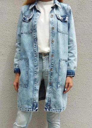 Пиджак джинсовый удлиненный, кардиган женский,  куртка джинсовая