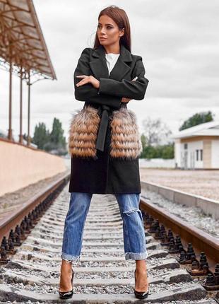 Пальто кашемировое с карманами из меха енота