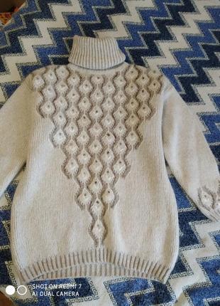 Шерстяной теплый свитер с горлом 54р.светлый беж с люрексовой ...
