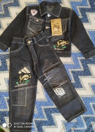 Крутой джинсовый костюм с нашивками на мальчика 3-4 года смотр...