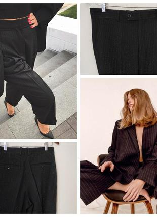 Женские брюки черные m l кюлоты в пооску