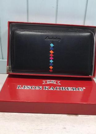 Женский кожаный кошелёк на молнии lison kaoberg чёрный красный...