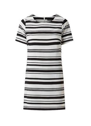 Полосатое платье в черно-белую полоску от new look