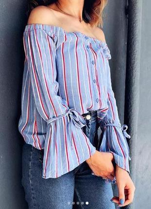 Актуальная блуза/топ/рубашка в полоску с открытыми плечами от ...