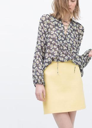 Фактурная юбка желтого цвета от zara