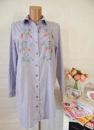 Хлопковая полосатая платье рубашка туника в полоску с цветочно...