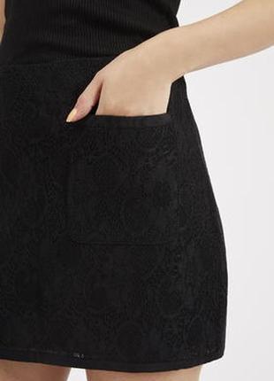 Кружевная  юбка  трапеция ажурная от topshop