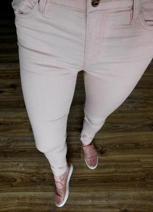 Штаны скинни джинсы суперстрейчевые пудровые от h&m
