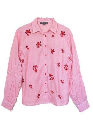 Хлопковая рубашка в полоску с цветочной вышивкой от atmosphere