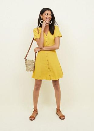 Платье халат на пуговицах горчичного цвета от new look