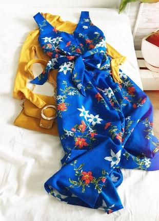 Платье халат цветочный принт с поясом длины миди от primark