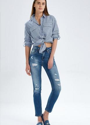 Рваные джинсы  облегающие скинни завышенная талия модель ltb l...