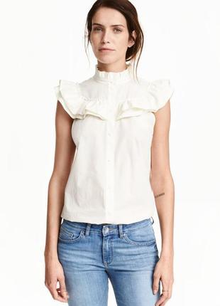 Хлопковая блузка/блуза  с оборками рюшами от h&m