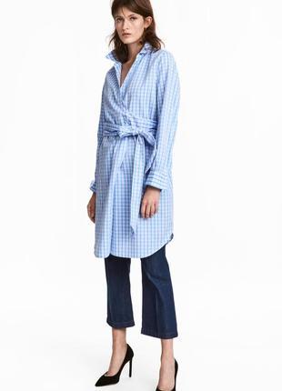 Хлопковая платье рубашка халат в клетку на запах с поясом длин...