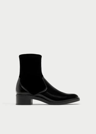 Сапоги короткие челси ботинки носки с велюровой вставкой от zara
