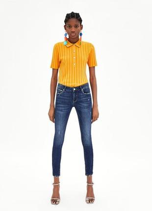 Синие джинсы скинни штаны с декоративными потертостями