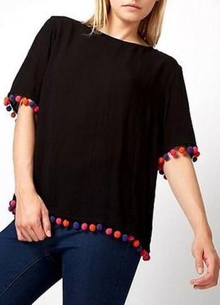 Вискозная футболка блуза с разноцветными помпонами от george