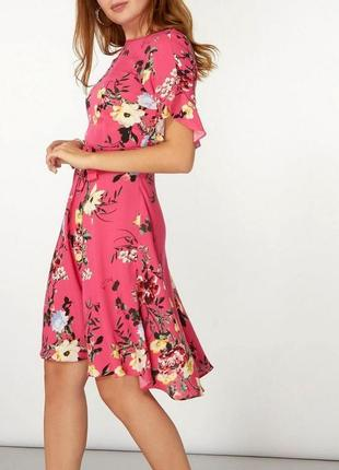 Штапельное платье сарафан цветочный принт длины миди с поясом ...
