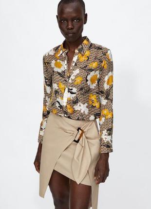 Цветочная рубашка блузка блуза в цветочный принт от zara