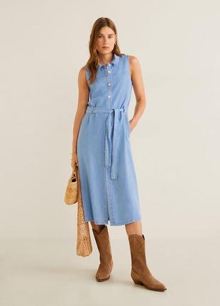 Натуральное джинсовое платье рубашка на пуговицах длины миди 1...