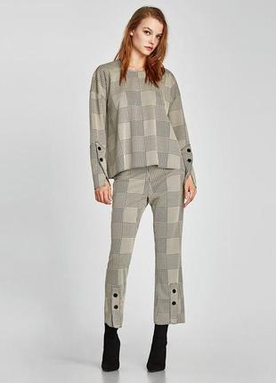 Клетчатые брюки штаны лосины в клетку с пуговицами от zara
