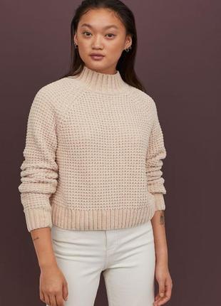 Мягкий шенилловый велюровый свитер пуловер от h&m