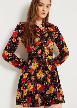 Платье рубашка цветочный принт на пуговицах из искусственного ...