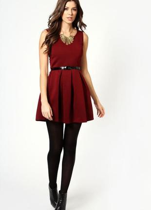 Платье с расклешенной юбкой колокол солнце клеш ягодного цвета