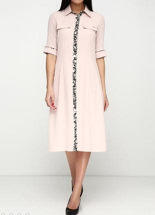 Стильное нюдовое платье рубашка sassofono