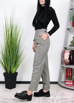 Твидовые брюки высокая посадка h&m твид