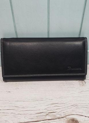 Женский кожаный кошелёк на кнопке черный prensiti